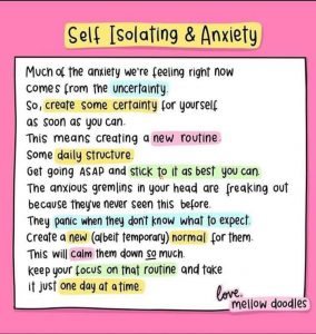 Self Isolating and anxiety tips image