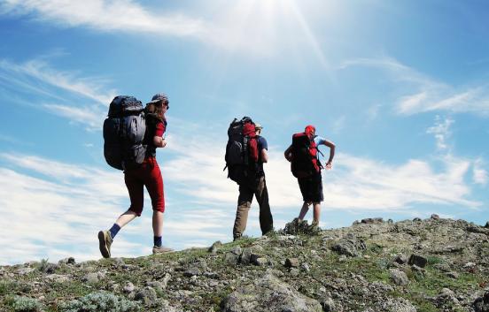 3 people on a fundraising trek